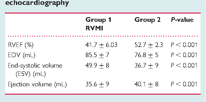 Table 4 RVEF calculated with three-dimensional echocardiography
