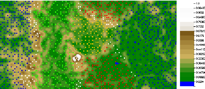 Figure 3: U-matrix visualization of a self-organizing map depicting the 4 player clusters identified in a population of 1365 Tomb Raider: Underworld players (shown as small colored squares). Different square colors depict different player clusters. Valleys represent clusters whereas mountains represent cluster borders.
