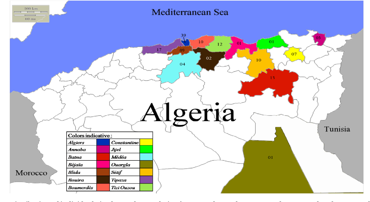 Fig. 1 – Distribution of individuals in the study population between the 14 departments from central and eastern Algeria.