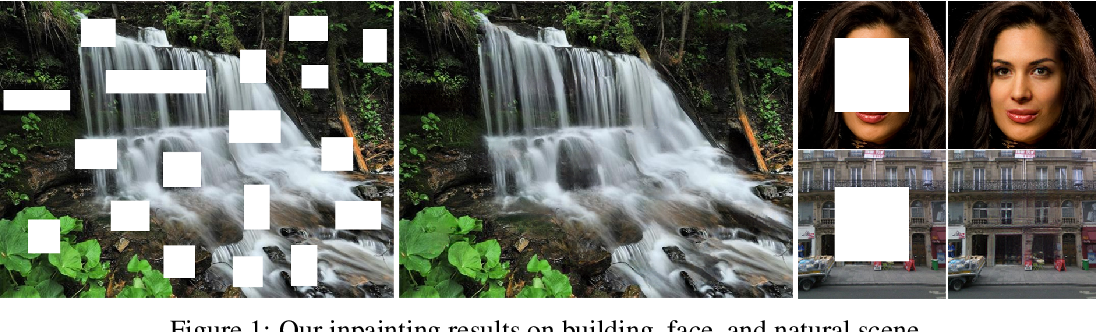 Figure 1 for Image Inpainting via Generative Multi-column Convolutional Neural Networks