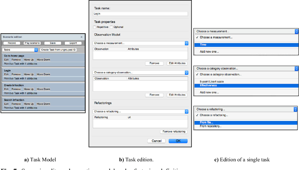 Fig. 7 Scenario editor: observation model and refactoring definition