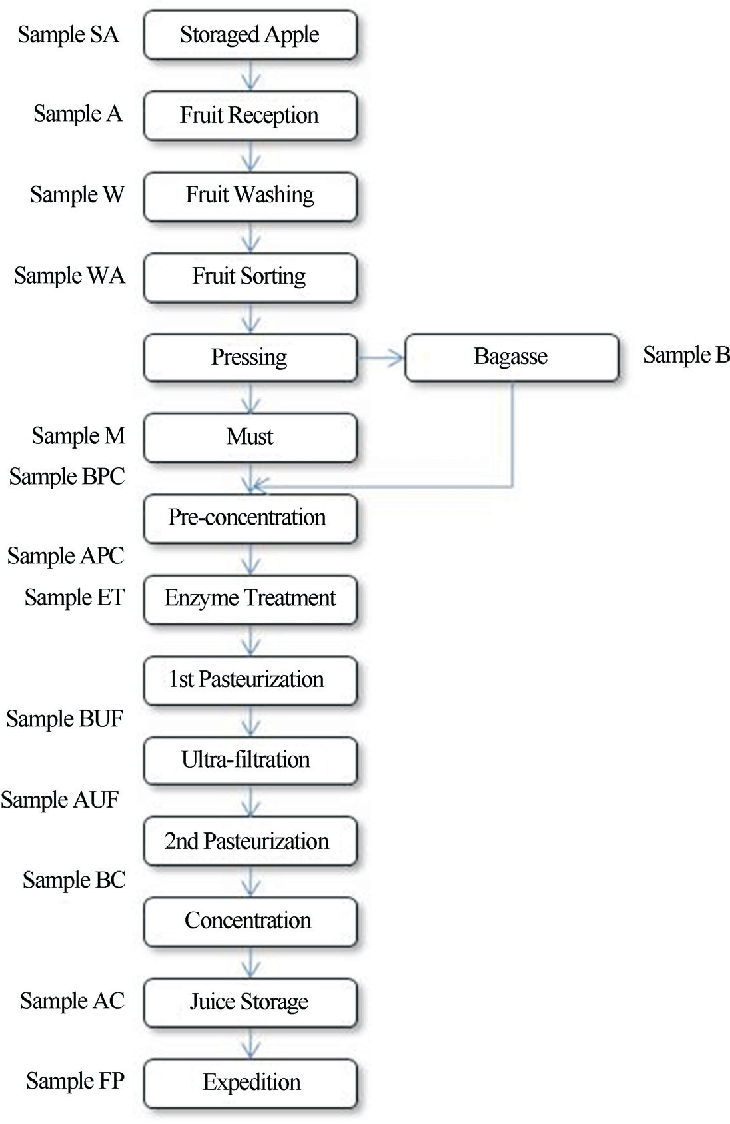 Figure 1 - Concentrated apple juice flow diagram and sampling localizations.