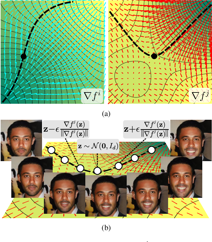 Figure 1 for WarpedGANSpace: Finding non-linear RBF paths in GAN latent space