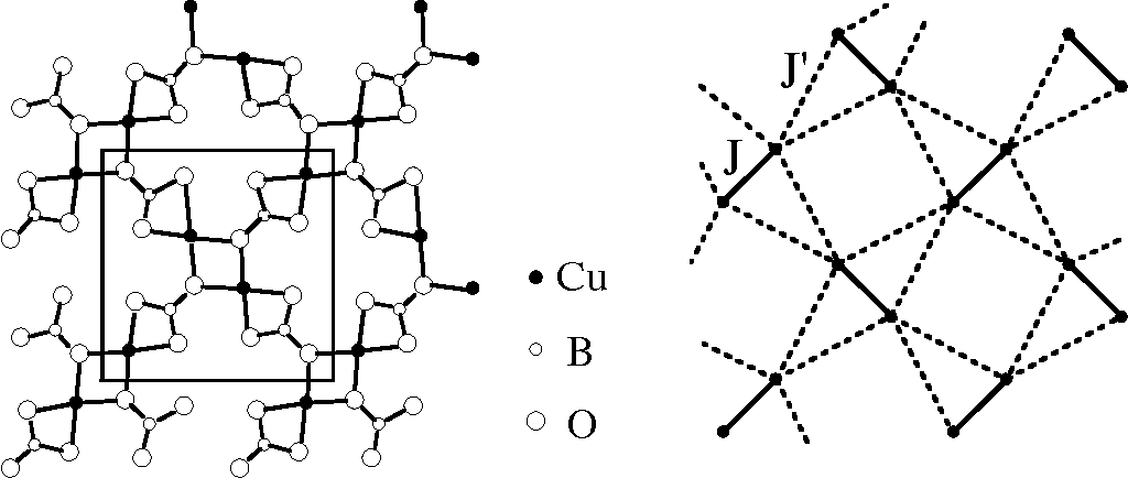 Figure 1. Structure of the magnetic layer in SrCu2(BO3)2 (left panel) and the Shastry-Sutherland model (right panel).
