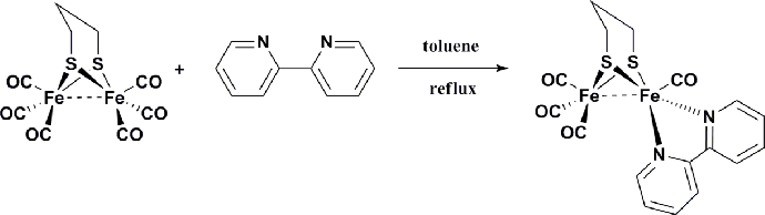 Figure 1. Synthetic route to (µ-S(CH2)3S)Fe2(CO)4(κ 2-bpy).