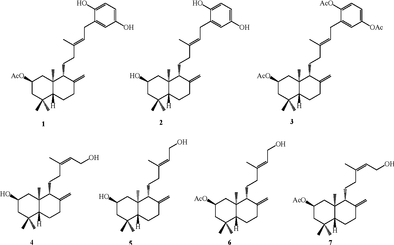 Figure 1. Structures of the seven compounds.