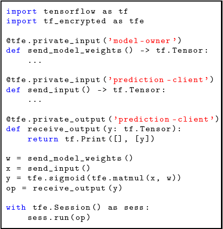 Figure 1 for Private Machine Learning in TensorFlow using Secure Computation
