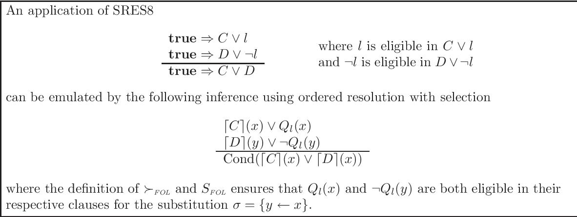 Figure 4.8: Emulating SRES8 inferences in first-order logic