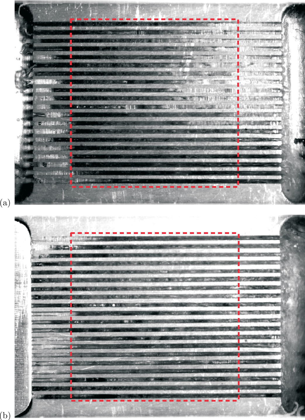 Figure 2.1: Visualization of the 4'052µm test section at a high mass velocity: (a) without, and (b) with the orifice insert. Flow direction is from left to right. The heating area is denoted by a red dashed line. Bright areas in the channels represent a single-phase liquid (near inlet) or annular flow (near outlet), whereas darker areas represent two-phase bubble mixture. Figure extracted from Park et al. (2009).