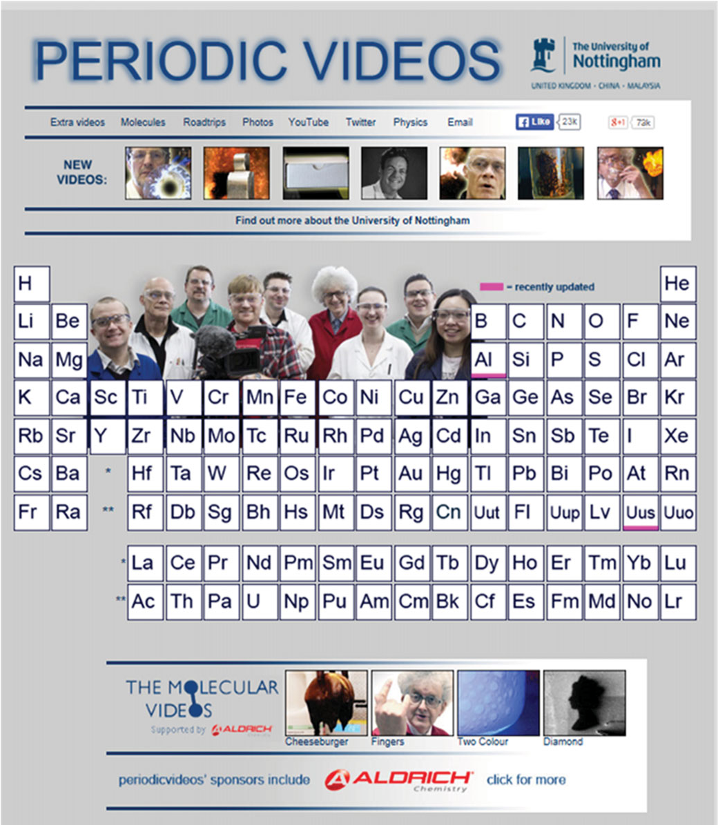 screenshot of the periodic table of videos ptov website 10