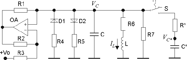 Fig. 5. Circuit diagram of the electronic neuron cell with an adaptive controller. +V0 is a DC bias. The switch S, the resistor R* and the capacitor C* compose the controller.
