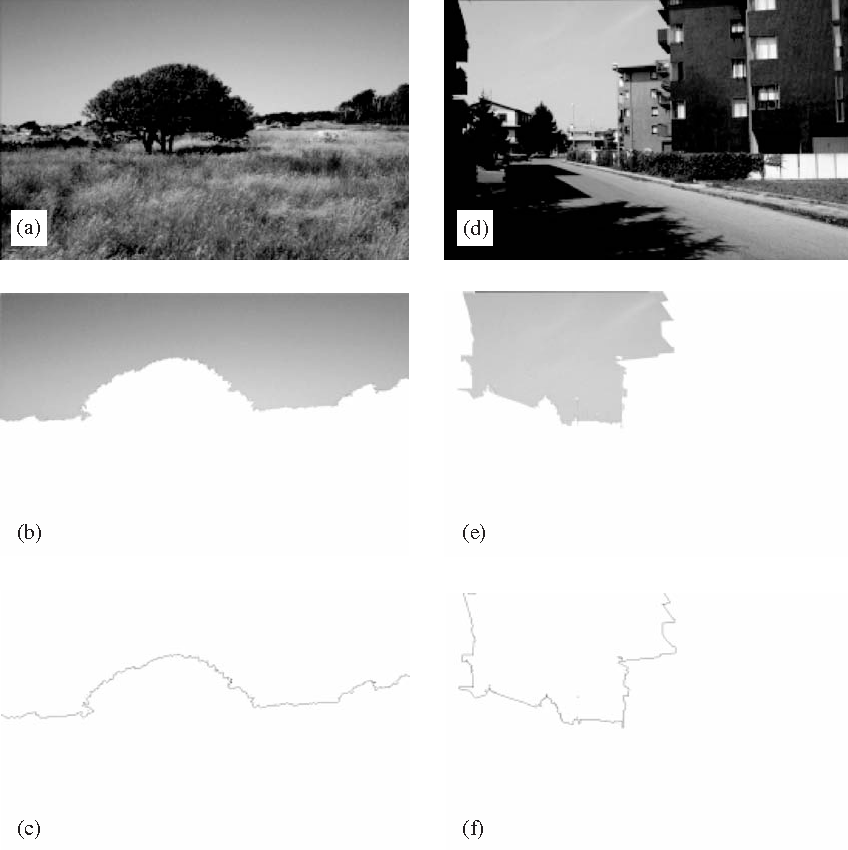 Fig. 1. The procedure for extracting the silhouette outlines from the images. The two examples show the procedure applied to a pasture landscape, images (a), (b) and, (c) and an urban landscape, images (d), (e) and (f).
