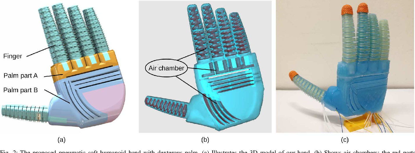 Figure 2 for A Novel Design of Soft Robotic Hand with a Human-inspired Soft Palm for Dexterous Grasping