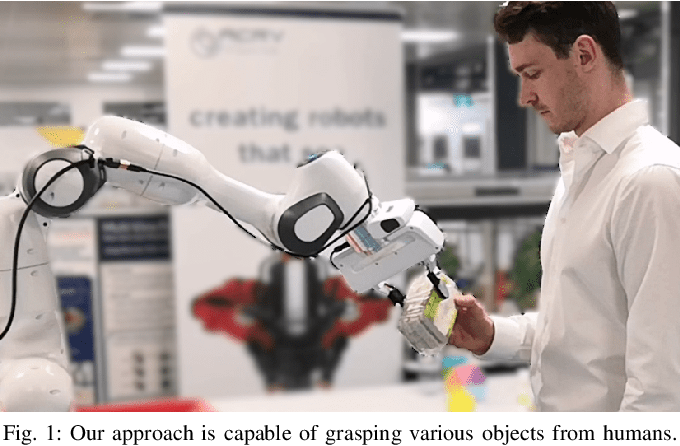 Figure 1 for Object-Independent Human-to-Robot Handovers using Real Time Robotic Vision