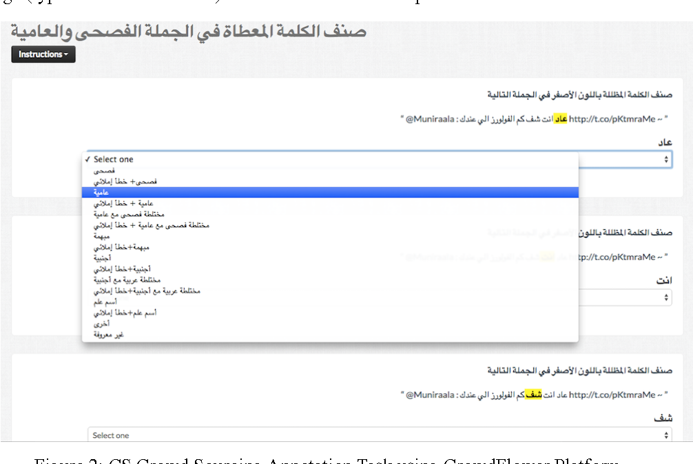 Figure 4 for Creating a Large Multi-Layered Representational Repository of Linguistic Code Switched Arabic Data