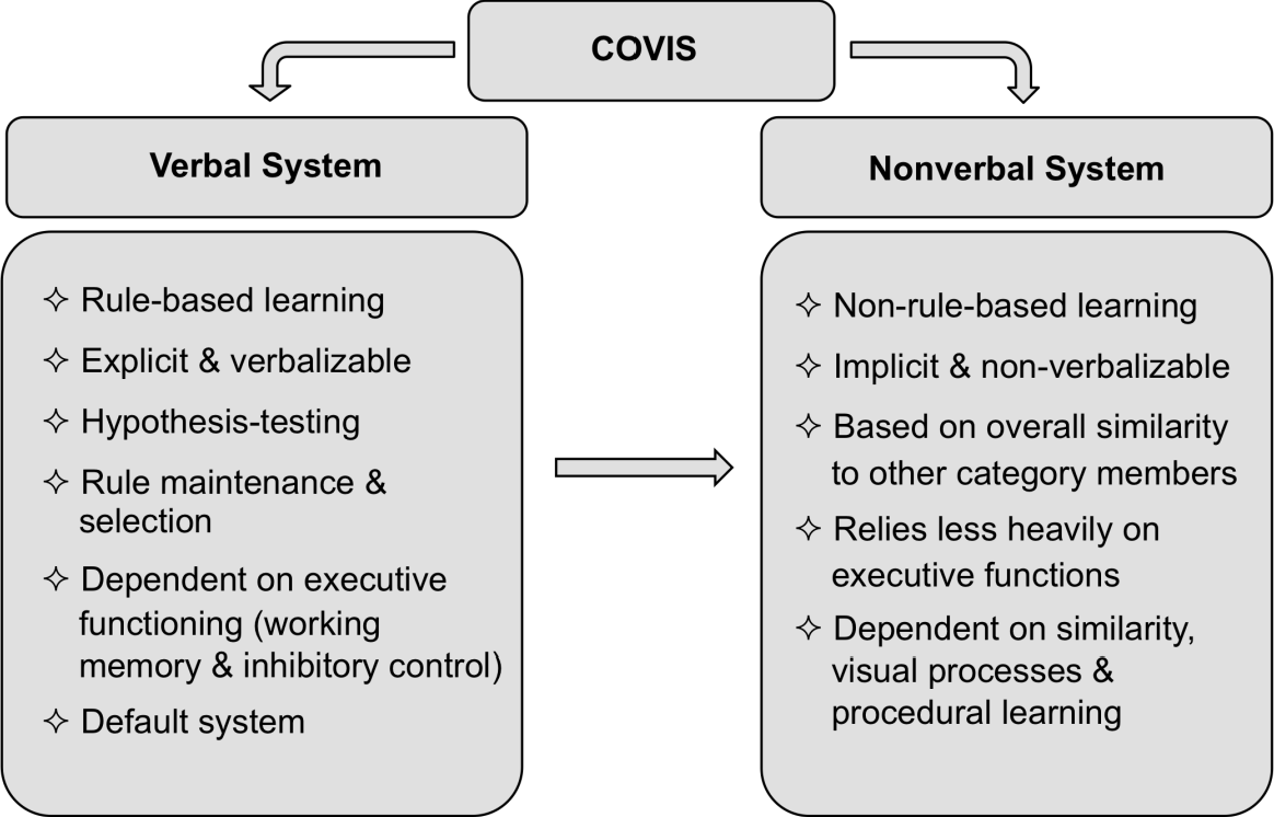 Figure 1.1: The key components of the COVIS theory of category learning.