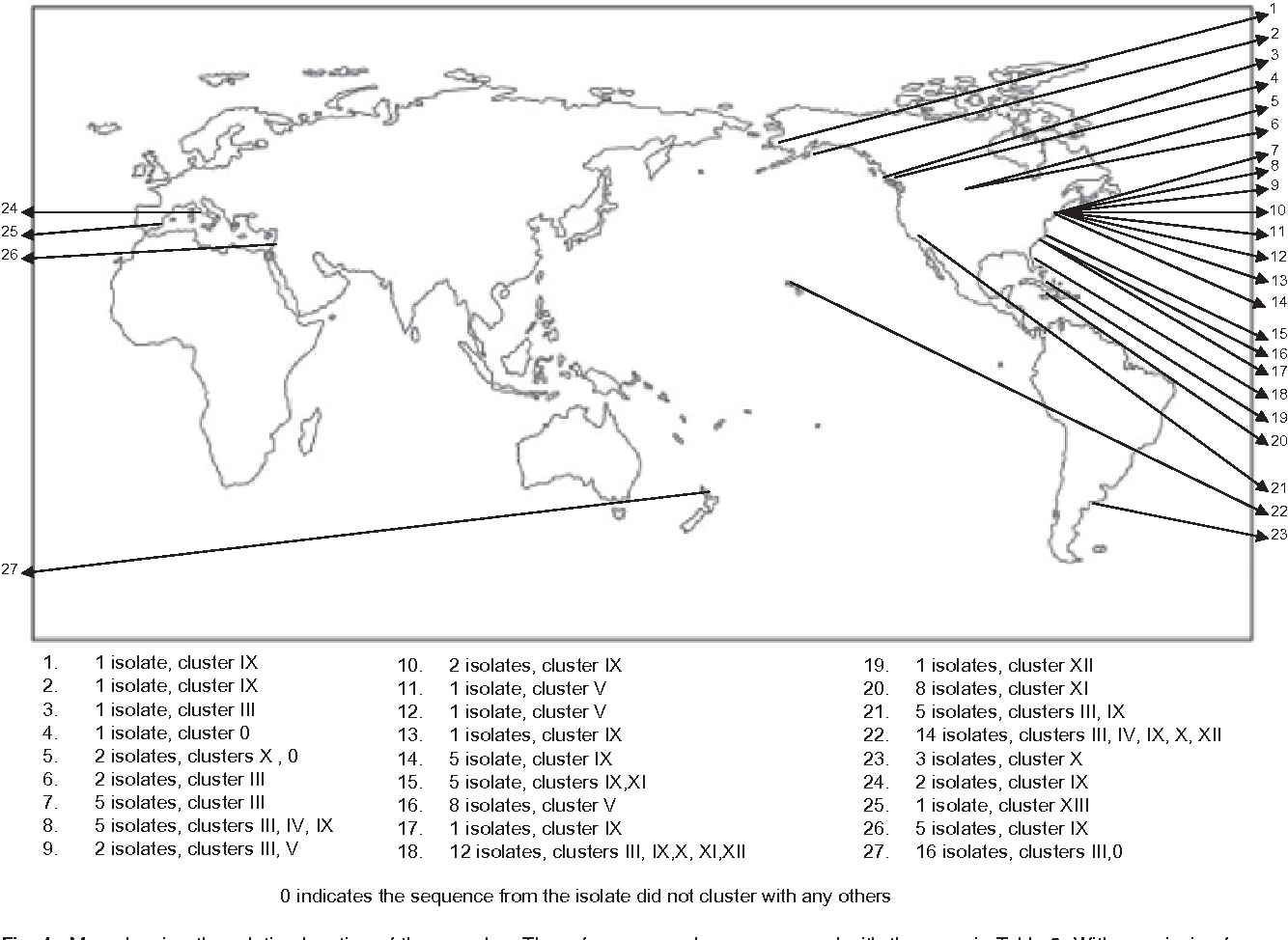 Fig. 1. Map showing the relative location of the samples. The reference numbers correspond with the ones in Table 2. With permission from http://serc.carleton.edu/images/usingdata/nasaimages/world-map-outline.gif.