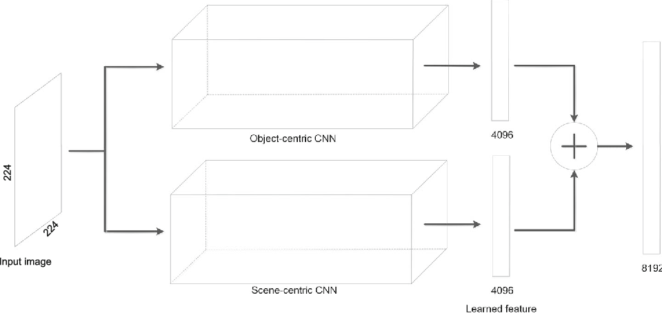 Fig. 1 The architecture of the two-pathway convolutional neural networks. One pathway is object-centric, while the other pathway is scene-centric. Features extracted from an image by these two pathways are concatenated to act as its representation