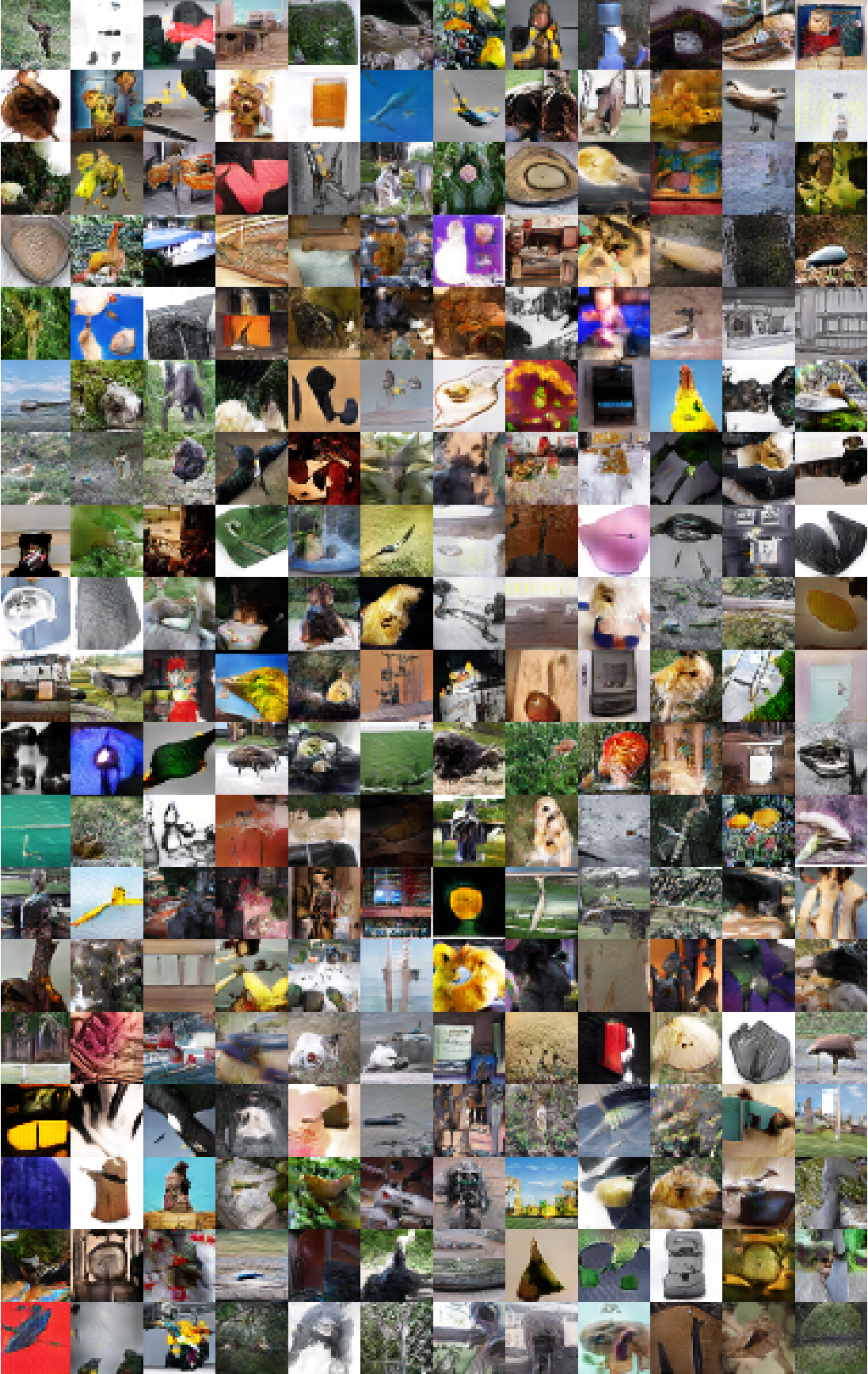 Figure 11: Generations of a DCGAN that was trained on the Imagenet-1k dataset.