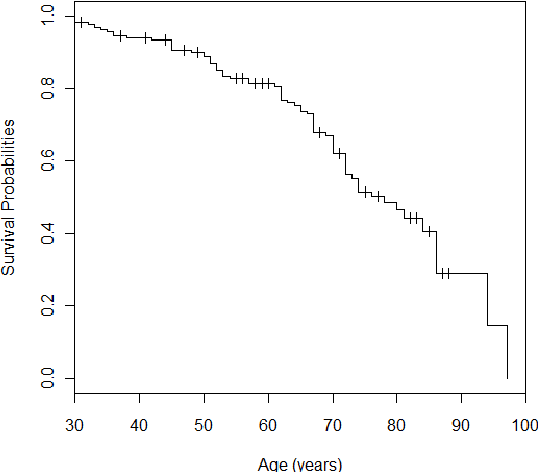 Figure 1. Kaplan Meier curves for overall survival of patients
