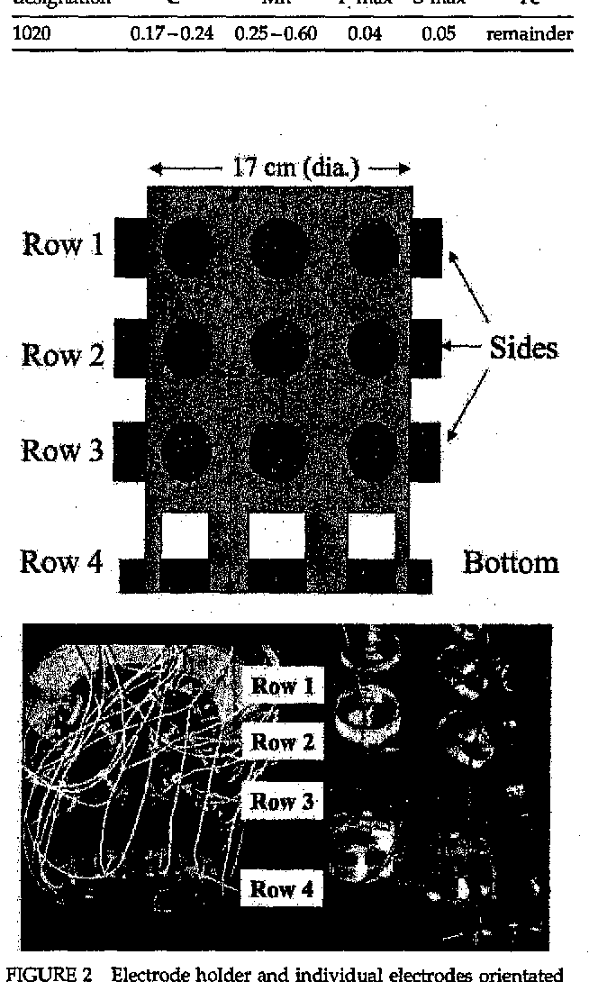 FIGURE 1 Heavy gauge plastic experimental chambers each containing an Ag/AgCI reference electrode, a Pt/Nb mesh counter, a cylindrical electrode holder and 36 individually addressable C1020 electrodes (27 vertically orientated, 9 FIGURE 2 Electrode holder and individual electrodes orientated horizontally orientated), both horizontally (bottom) and vertically (sides).