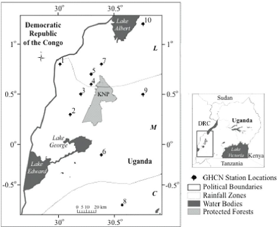 Fig. 1: Map of study region with political boundaries, water bodies, station locations and delineated climatological rainfall zones (C, L and M) from Basalirwa (1995). Station data are from Global Historic Climate Network data for 1941-1975