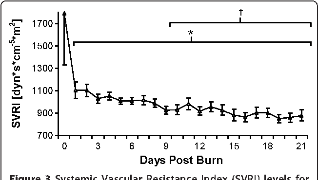 Figure 3 Systemic Vascular Resistance Index (SVRI) levels for the entire patient cohort between burn (day 0) and day 21 postburn. Data are expressed as means ± standard error of the mean. *P < 0.05 versus day 0. †P < 0.05 versus day 1.