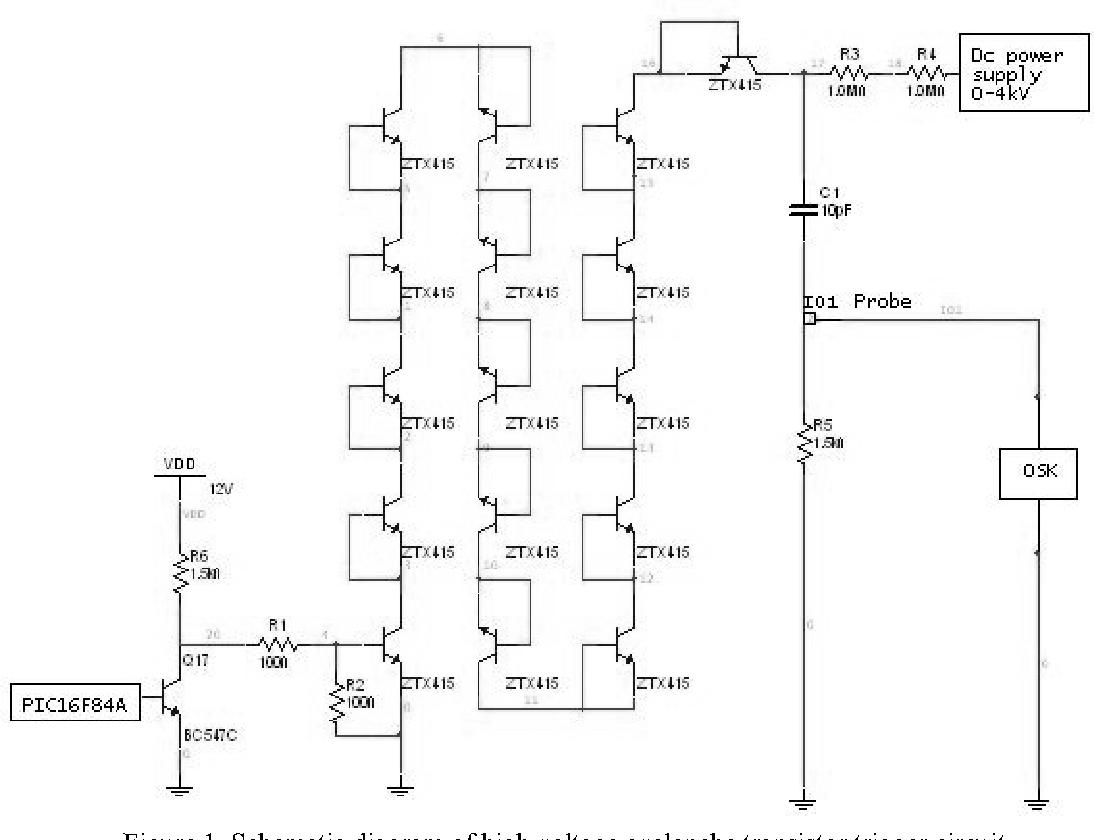 schematic diagram of high voltage avalanche transistor trigger circuit