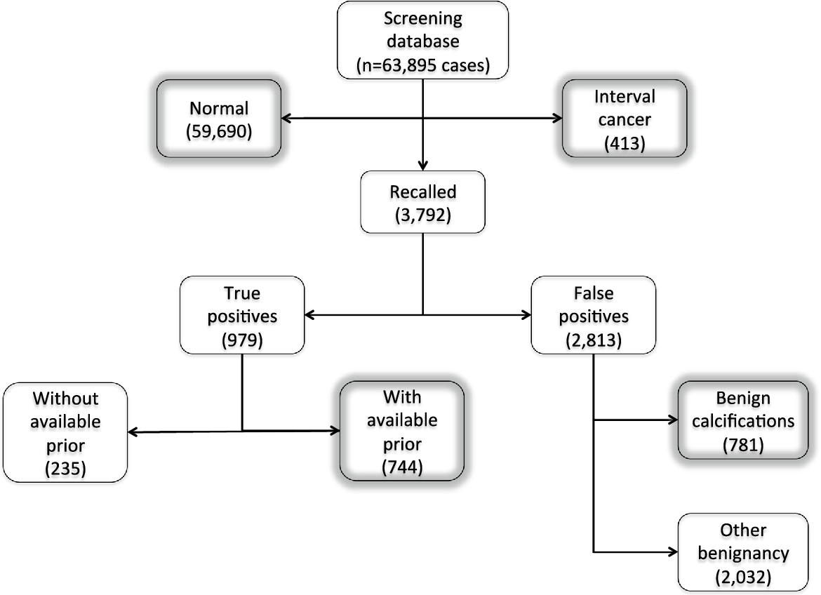 Fig. 1 Overview of the breast cancer screening database used in this study, with data from 2003 to 2014. In this study, we include 170,878 screening exams from 63,895 women. Boxes with a gray glow were included in the ground truth for the evaluation