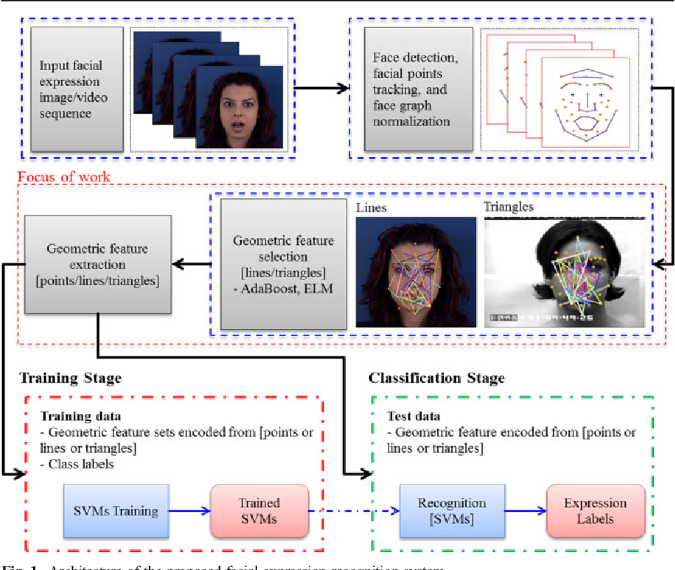 Figure 1 for Recognition of facial expressions based on salient geometric features and support vector machines