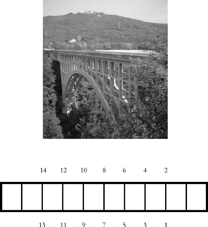 Fig. 2. Villa Paso bridge. Top: picture bridge. Bottom: schematic top view with numbered test points.