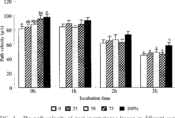 FIG. 4. The path velocity of goat spermatozoa frozen in different concentrations of trehalose after a 3-h postthawing resistance test at 378C. Data are represented as the mean 6 SEM and different superscript letters over bars represent statistical differences at P , 0.05 within the incubation time.