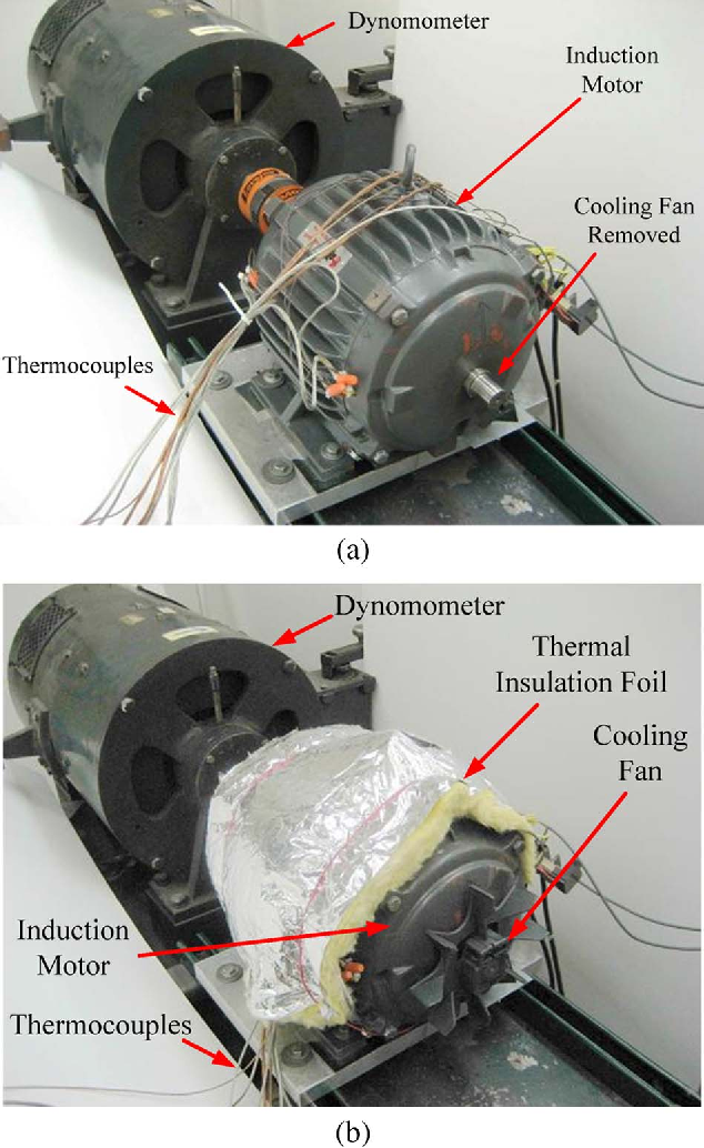 Fig. 7. Experimental setup of impaired cooling conditions. (a) Impaired cooling condition with cooling fan removed. (b) Impaired cooling condition with additional thermal insulation.