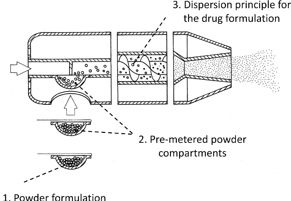 schematic representation of a high dose dry powder inhaler  shown are