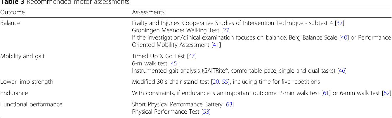 Recommendations for assessing motor performance in