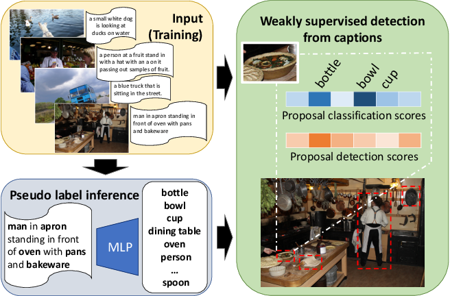 Figure 1 for Cap2Det: Learning to Amplify Weak Caption Supervision for Object Detection