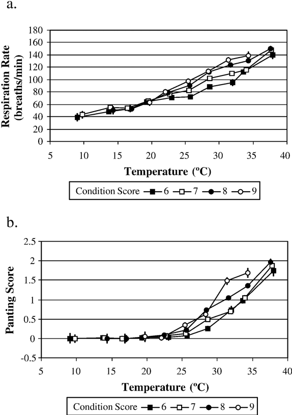 Fig. 3. Respiration rate (a) and panting score (b) response differences between feedlot heifers of four different condition scores. Error bars represent the standard error associated with each point.