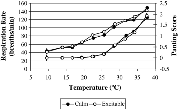 Fig. 5. Respiration rate and panting score response differences between feedlot heifers with temperament scores less than or equa to 1.5 (calm), or greater than 1.5 (excitable). Error bars represent the standard error associated with each point.