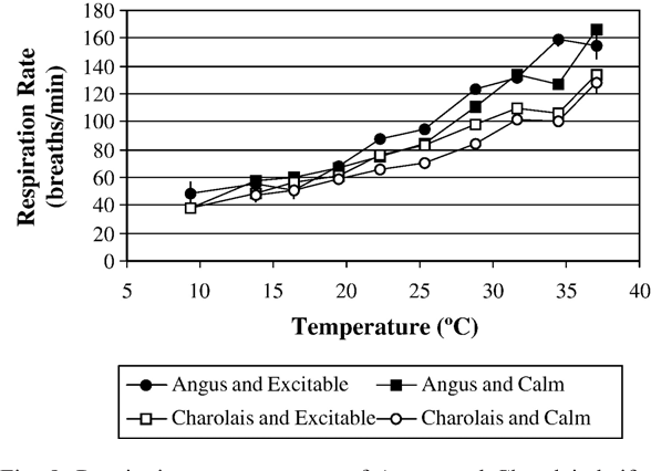 Fig. 8. Respiration rate responses of Angus and Charolais heifers that either had a temperament score of less than or equal to 1.5 (calm) or greater than 1.5 (excitable). Error bars represent the standard error associated with each point.