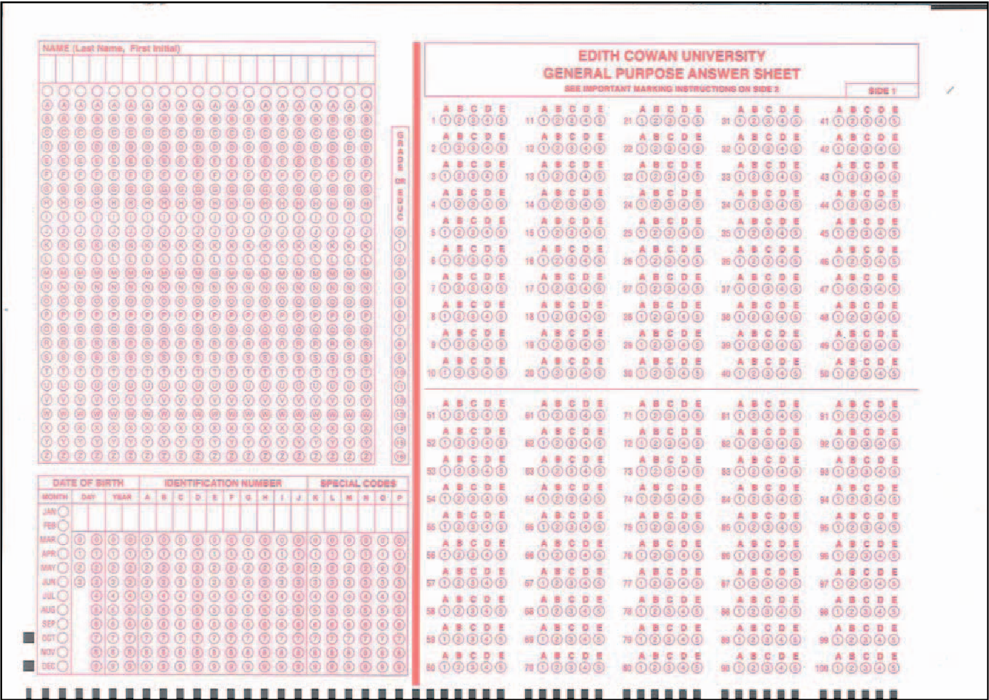 Automated marking of printed multiple choice answer sheets