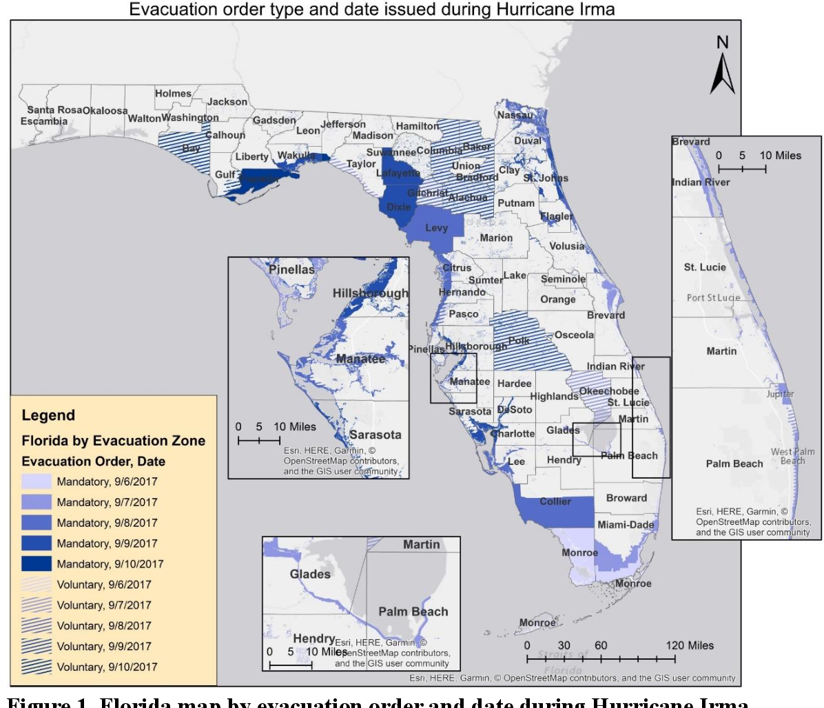 Figure 2 for Constructing Evacuation Evolution Patterns and Decisions Using Mobile Device Location Data: A Case Study of Hurricane Irma