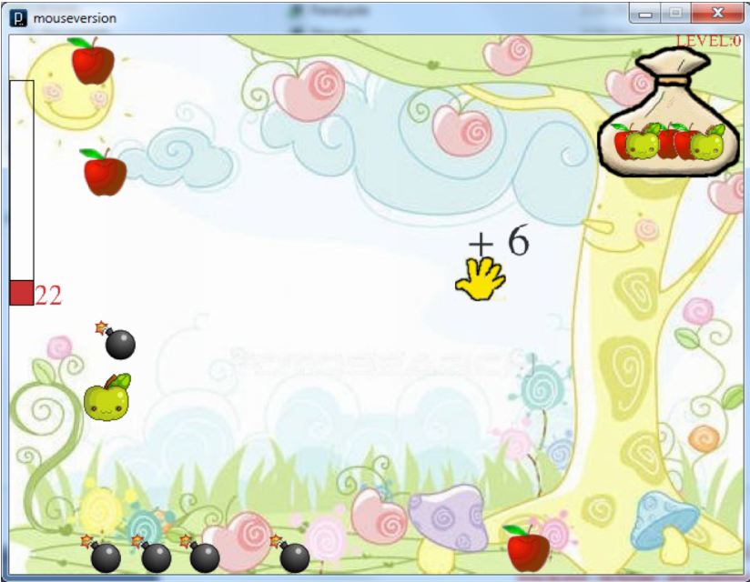 Fig. 1. GrabApple. Players move the hand to grab falling apples while avoiding falling bombs