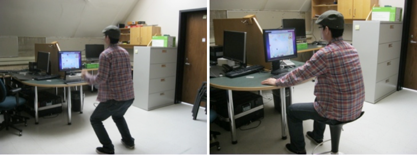 Fig. 2. Playing the Kinect (left) and mouse version (right).