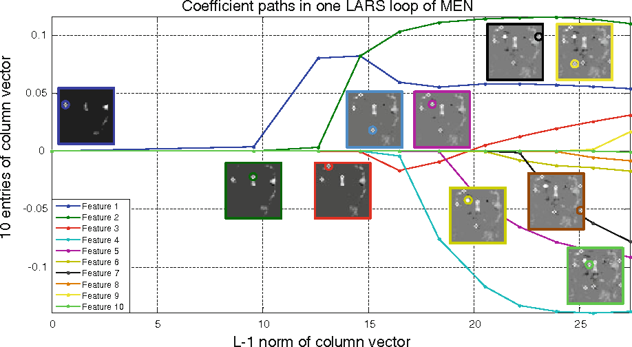 Fig. 12 Coefficient paths of 10 entries (features) in one column vector