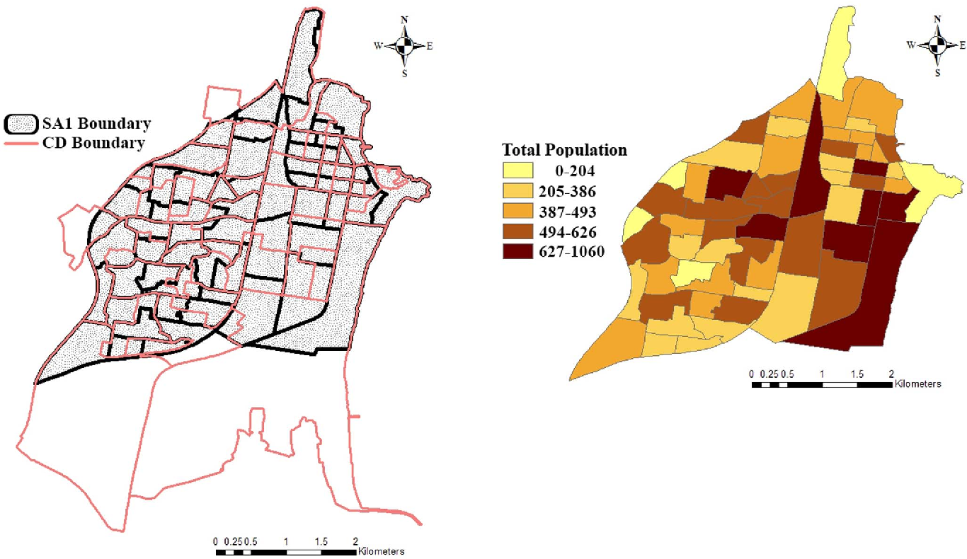 Figure 1. Map of the study area (SA2 Name: Wollongong) and SA1-specific total population in 2011.