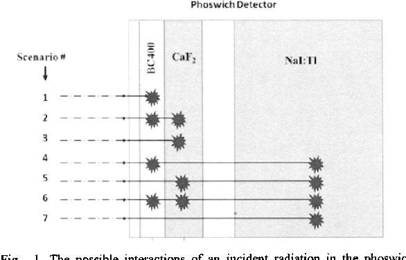 Fig. 1. The possible interactions of an incident radiation in the phoswich detector.