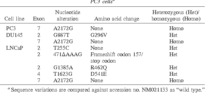 Table 2 Coding sequence polymorphisms in RNASEL of LNCaP, DU145, and PC3 cellsa
