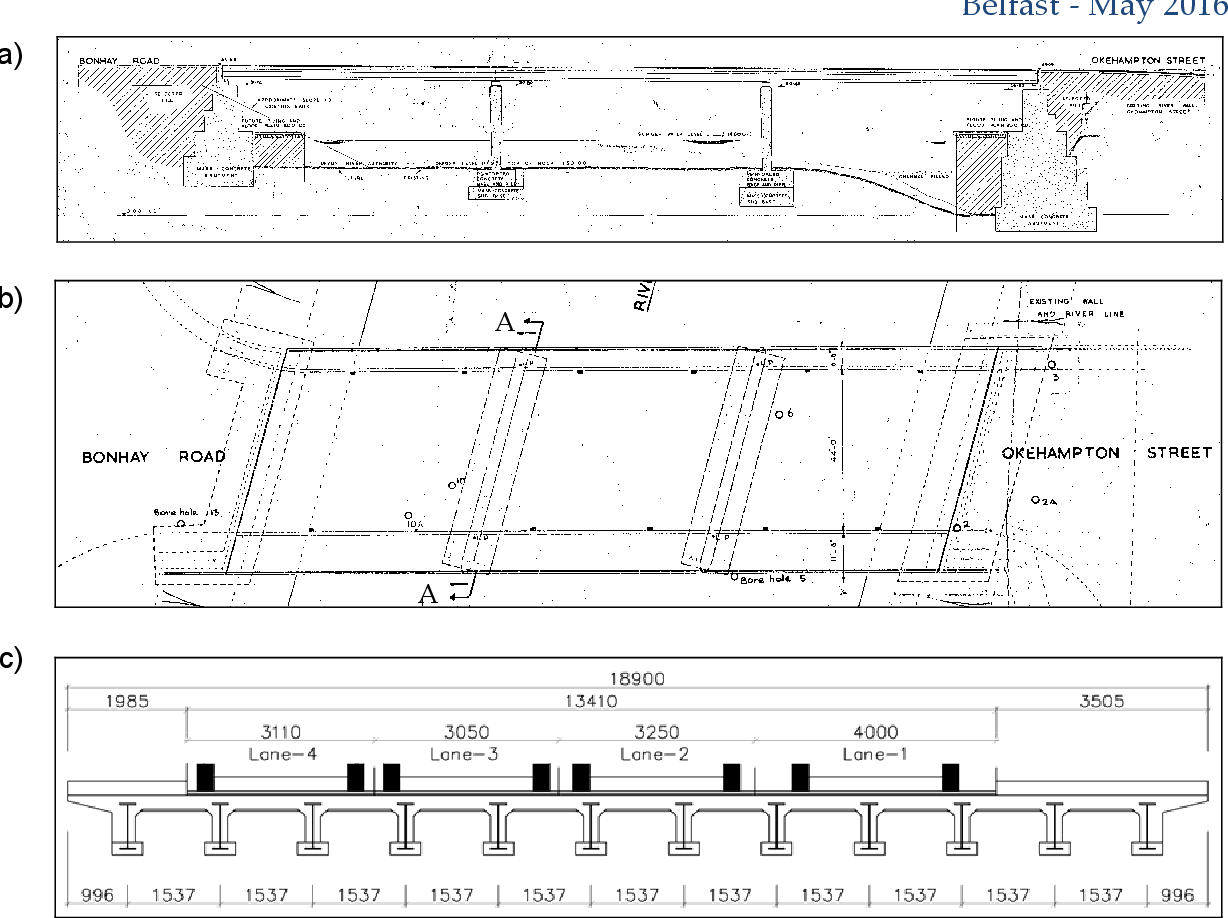 figure 1: (a) bridge elevation  (b) plan view of exe