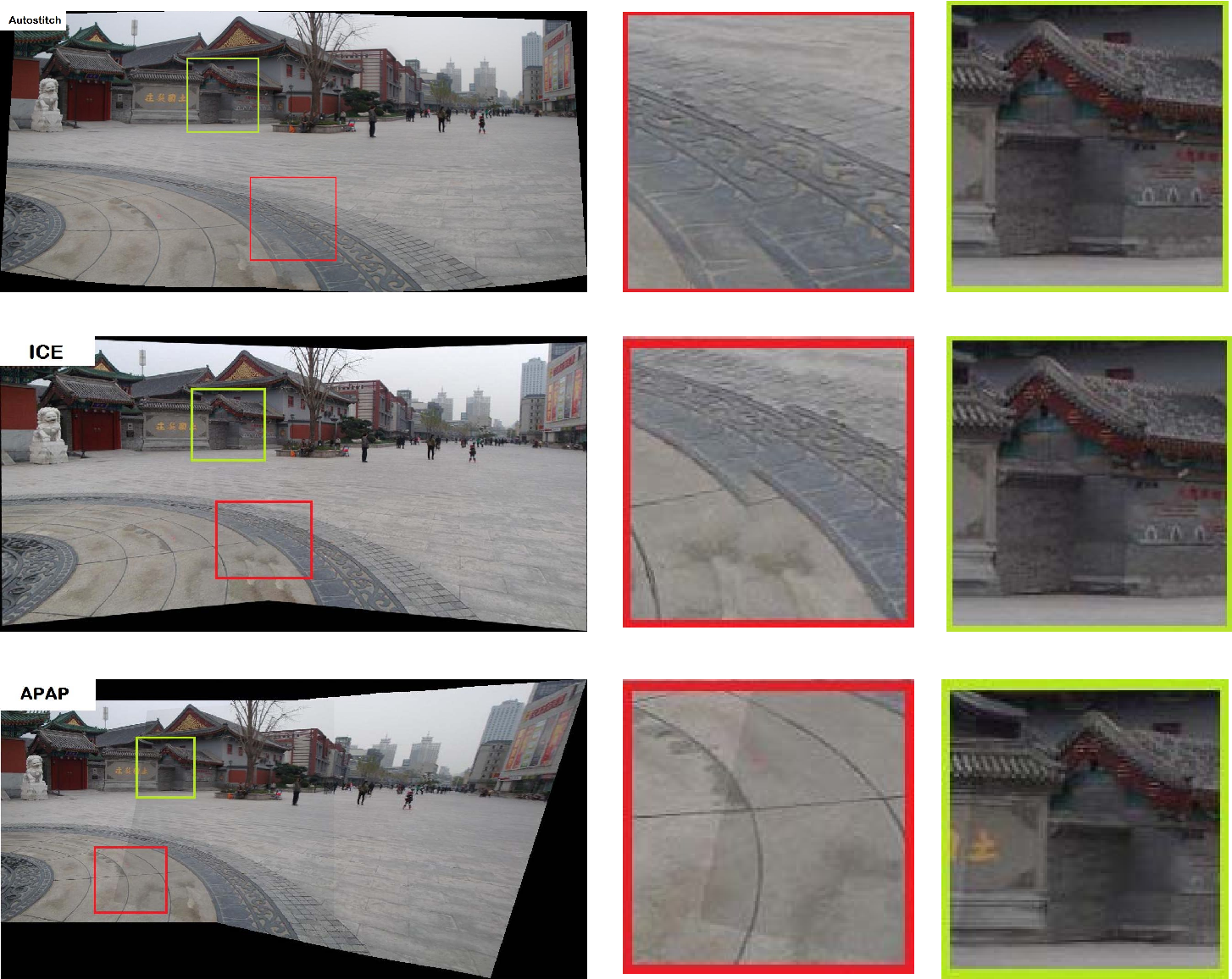 Analysis of moving DLT, image and seam selections algorithms with MS