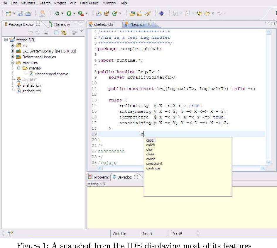 Figure 1: A snapshot from the IDE displaying most of its features